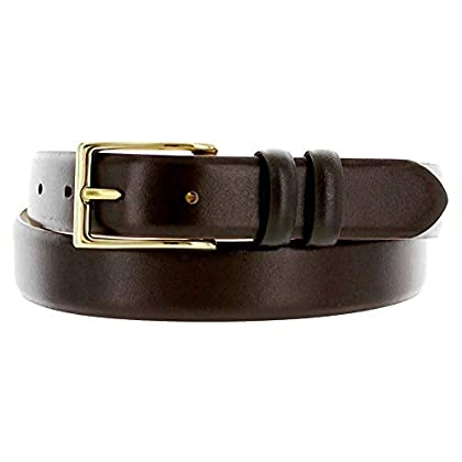 Hagora Men 1-1//8 Wide Genuine Italian Calfskin Embossed Clear Gold Buckle Belt