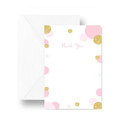 Mod Dot Thank You Card Blush and Gold 25 (Mod Flat Cards)