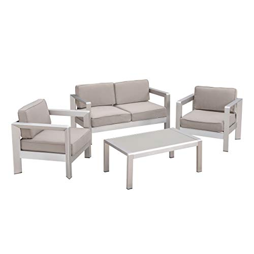 Great Deal Furniture Kenia Outdoor 4-Seater Aluminum Chat Set with Tempered Glass-Topped Coffee Table, Silver and Khaki