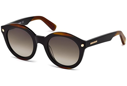 Dsquared2 - CARA DQ 0224, Rondes, acétate, femme, BLACK BROWN/BROWN SHADED(05F H), 50/23/145