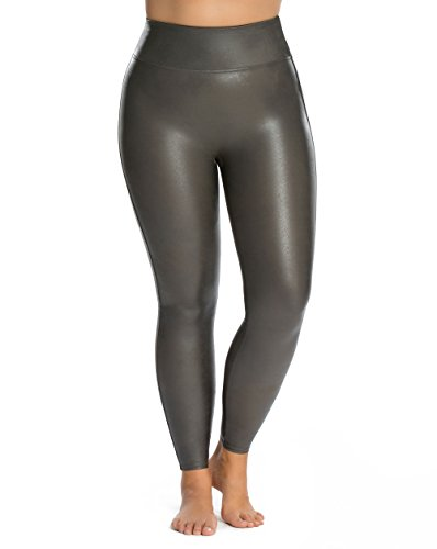 SPANX Plus Size Ready-to-Wow Faux Leather Leggings, 1X, Gunmetal by SPANX