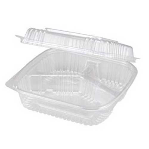 World Centric Ingeo Compostable 3 Compartment Hinged Clamshell, 8 x 8 x 3 inch - 250 per case.