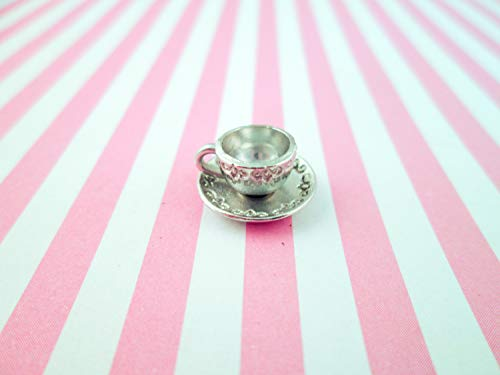 10 Silver Plated Filigree Patterned Tea Cup Charms, Miniature Teacup and Saucer for Dollhouses and Crafts, DH32