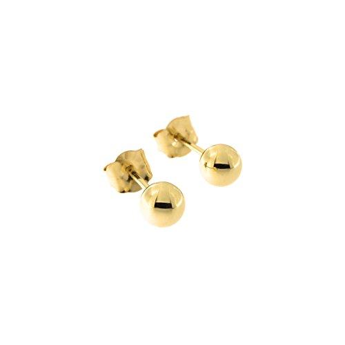 14 Karat Yellow Gold Round Bead Ball Stud Earrings, 4mm