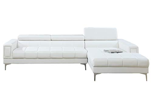 Poundex F7364 Bobkona Hayden Bonded Leather Sectional with Adjustable Back, White (Small White Leather Couch)