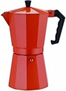 Aluminum Cuban Style Coffee Maker Designer Red 12 cup.