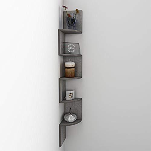 USHA Furniture RjKart Corner Zigzag Shape Rack, Purely Laminated Mount MDF Wall Shelves, Antic Oak