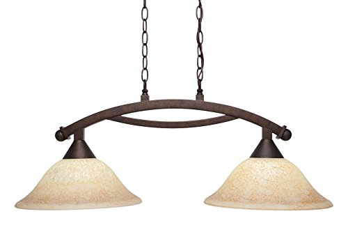 Toltec Lighting 872-BRZ-528 Bow 2 Light Island Light with 12