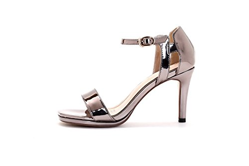 AmoonyFashion Womens High-Heels Solid Buckle Patent Leather Open-Toe Sandals Silver v7uO1XhvBd