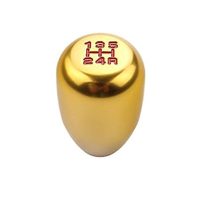 DEWHEL 5 Speed Manual Gearbox Shift Knob M12x1.25 Screw On Aluminum Gold: Automotive