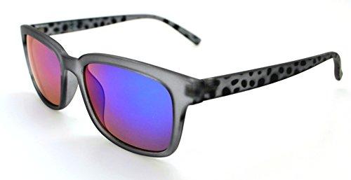 VOX Stylish Lightweight Durable Quality Mens & Womens Trendy Retro Wayfarer Sunglasses w/FREE Microfiber Pouch - Gray Spotted Frame - Blue/Green - Triathlon Sunglasses