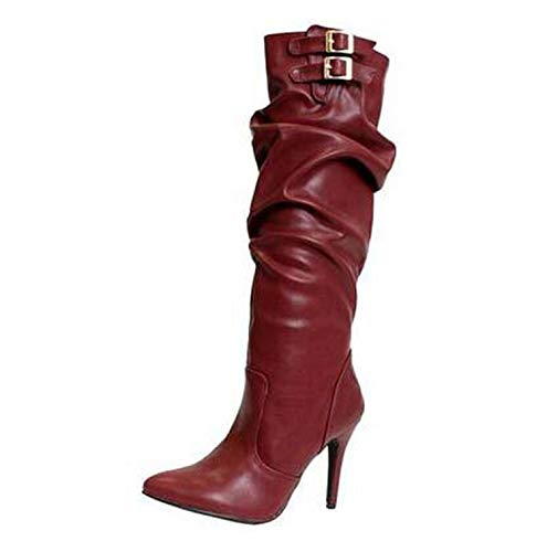 (Women Pleated Faux Leather high Heels Shoes Ladies Sexy Pointed Toe Stiletto Boots Woman Plus Size,red,3)