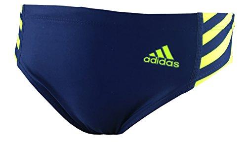 Adidas Boys Performance Swim Briefs, Navy Blue and Neon Yellow, Size 28