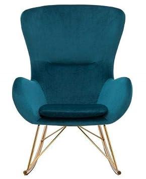Casa-Padrino Mecedora de Diseño Azul Oscuro 67 x 76 x H. 89 ...