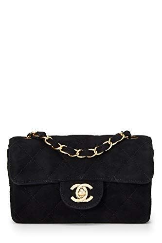 (CHANEL Black Quilted Suede Classic Flap Mini (Pre-Owned))