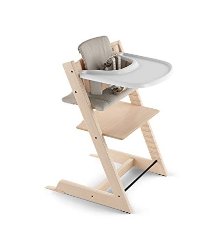Stokke 2019 Tripp Trapp High Chair Complete Bundle, Natural with Timeless Grey Cushion and White Tray (Stokke Tripp Trapp High Chair Complete Bundle)