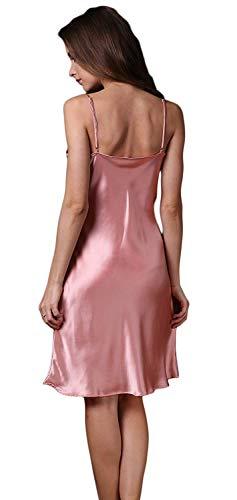 Vestido Sin Mangas Color Rosa Suave Silk Cortos Sólido Fashionista V Sling Verano Camisón Dormir Mujer Camisones De Pijama Elegante Sleepwear cuello Cómodo 0qUYBwpn