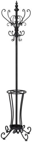Rustic Metal Scroll Hall Tree – Decorative Hooks Umbrella Rack – Wrought Iron Frame
