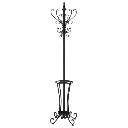 Rustic Metal Scroll Hall Tree - Decorative Hooks & Umbrella Rack - Wrought Iron -