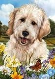 Goldendoodle White – Tamara Burnett Summer Flowers Flag: 28 x 40 inches