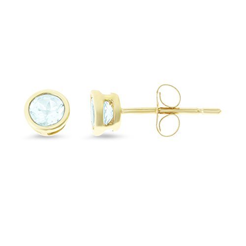 0.47CTW 14K Yellow Gold Genuine Natural Aquamarine Round Bezel 4 mm. Solitaire Stud - Stud Bezel Aquamarine Earrings