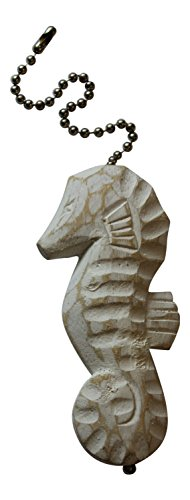 - MTI Seahorse Whitewashed Finish Ceiling Fan Pull Hand Carved Wood