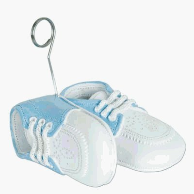 (Pack of 6) BABY BOY SHOES PHOTO HOLDER/BALLOON WEIGHT