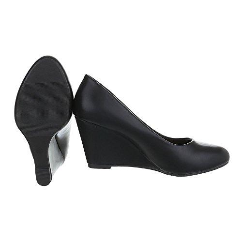 Schwarz chaussures femme 96 compensées EK Design Ital wqzUT8