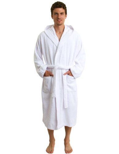 towelselections men 39 s robe plush fleece hooded spa bathrobe large x large white apparel. Black Bedroom Furniture Sets. Home Design Ideas