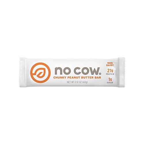 No Cow Protein Bar, Chunky Peanut Butter, 21g Plant Based Protein, Low Sugar, Dairy Free, Gluten Free, Vegan, High Fiber, Non-GMO, 12 Count