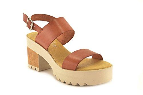 Sandalia by CSY - modelo z021 - Sandalia de piel de Mujer en color Amarillo, Cuero y Rojo Cuero