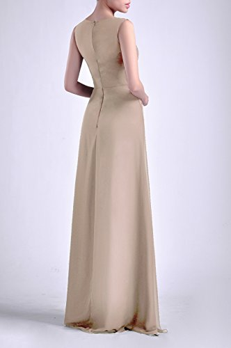 Sheath Bateau Champagne Natrual Straps Women's Dress Sleeveless Chiffon Long Adorona wIaqFxYp