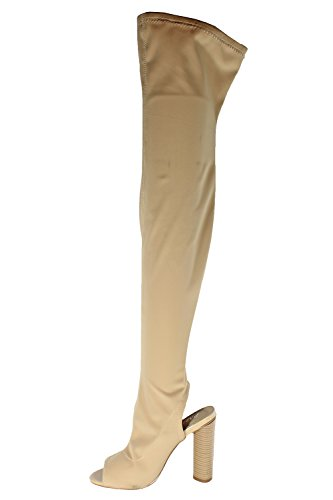 Womens Springland Open Heel Over The Knee Long Footwear Boots FANI Nude huEEEATZ