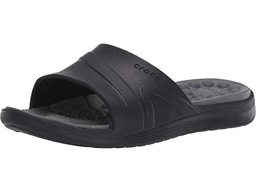 Crocs Reviva Slide Sandal, Black/Slate Grey, 11 US Men/ 13 US Women M US (Crocs Baya Slide)