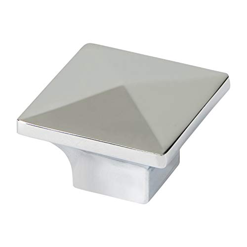 (Square Pyramid Top Cabinet Knob - Upper Rim - Polished Chrome - 25 Pack)