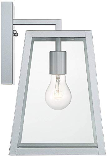 Arrington Modern Outdoor Wall Light Fixture Sleek Silver Steel 13'' Clear Glass for Exterior House Porch Patio Deck - John Timberland by John Timberland (Image #5)