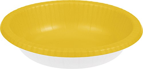 Creative Converting Touch of Color 20 Count Paper Bowl, 20 oz, Schoolbus Yellow (Yellow Kitchen Bowl)