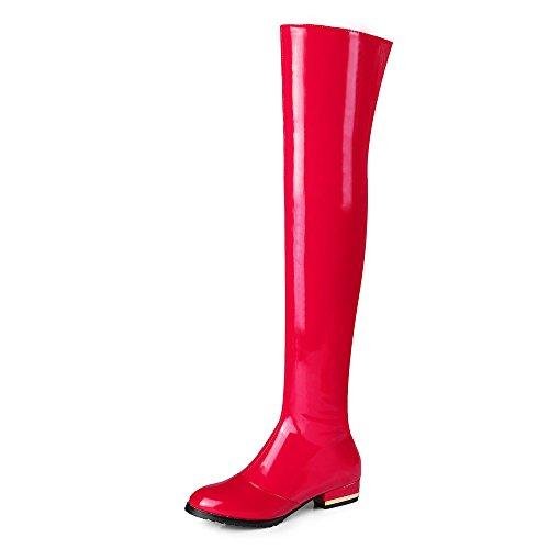 Nio Sju Lack Womens Rund Tå Låg Klack Mode Handgjorda Sexig Över Knäet Stövlar Rött