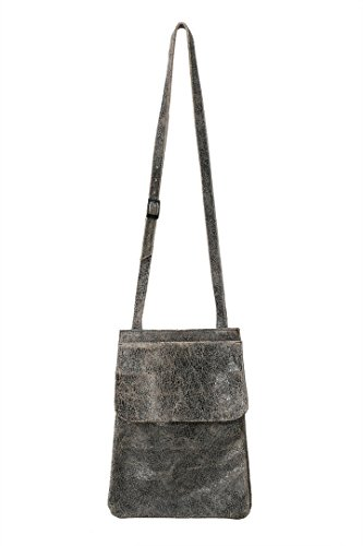 Lily and Lola Josette Double Pouch Saddle Bag in Crackle Black Leather