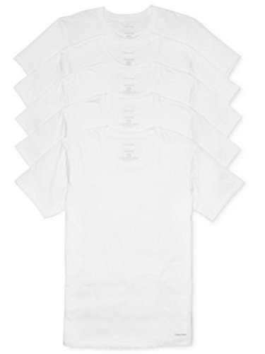 Calvin Klein Men's Undershirts Cotton Classics Crew Neck T-Shirts 5 Pack, White, L