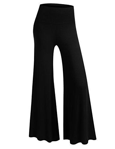 BIADANI Women Classic Soft Chic Wide Leg Foldover Band Palazzo Pants Black Large