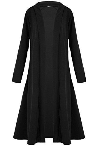 Femmes Manches Longues Bout Ouvert Bande Uni Fluide Chute Deau Évasé Chaude Baggy Veste Élastique Cardigan Hiver - Noir, Femme, Grande Taille (EU 52/54)