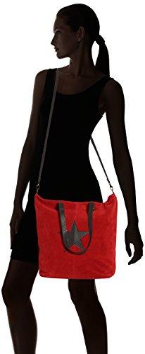 CTM bolso de mano para mujer de piel suave y genuina hecho en Italia - 33x26x13 Cm Rojo (Rosso)