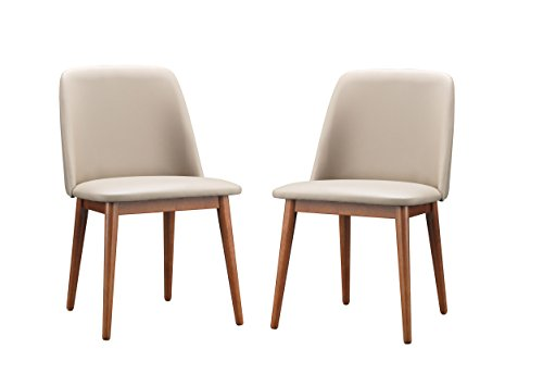 Baxton Studio Set of 2 Lavin Mid-Century Dark Walnut Wood and Beige Faux Leather Dining Chairs Review