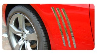 2010-2015 Camaro Rear Quarter Panel Louver Accent Trim Kit (6 Piece Set) Camaro Rear Quarter Panel
