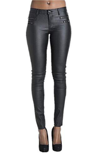 Womens Faux Leather Legging Pants Low Rise Sexy Skinny Pants Black