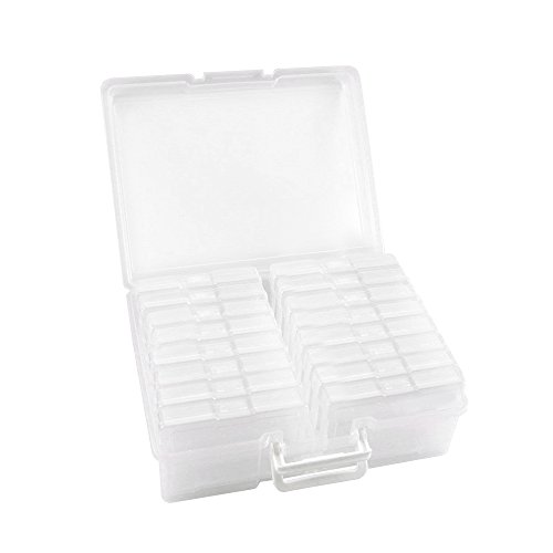 "Novelinks Transparent 4"" x 6"" Photo Cases and Clear Craft Keeper with Handle - 16 Inner Cases Plastic Storage Container Box (Clear)"