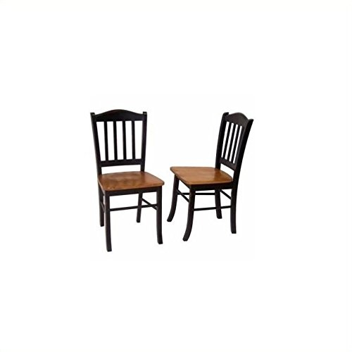 Bowery Hill Dining Chair in Black and Oak (Set of Two)