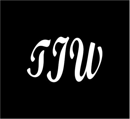 """6"""" white Monogram 3 letters TIW initials Bold font script style vinyl decal for cup car computer any smooth surface"""