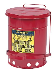 Justrite 09300 Red Galvanized Steel Oily Waste Safety Can - 10 Gallon Capacity ()